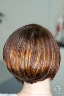 Balayage ant trumpų plaukų